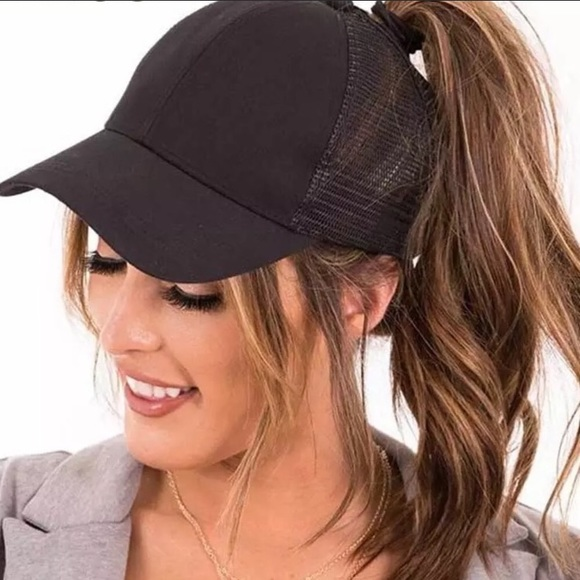 Accessories 2019 High Ponytail Messy Bun Truckers Mesh Cap Poshmark